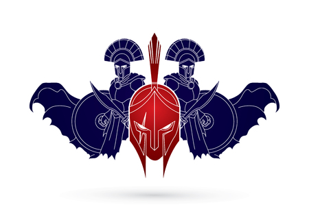 Roman or Greek Helmet, Spartan Helmet, and Angry Warrior composition graphic vector Vectores