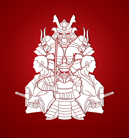 Group of Samurais, Ready to fight composition graphic vector