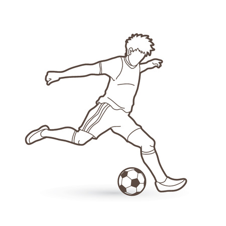 Soccer player running and kicking a ball action outline graphic vector Illustration