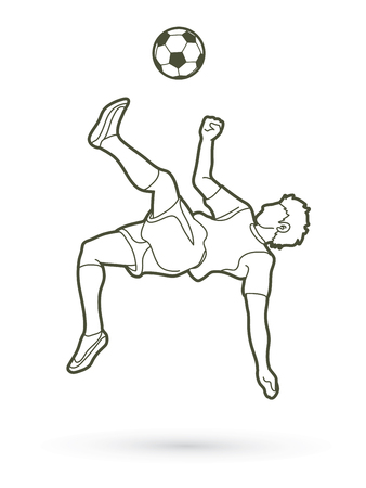 Soccer player somersault kick, overhead kick action outline graphic vector