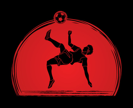 Coup de somersault joueur de football, action de coup de frais généraux conçu sur le vecteur graphique de fond coucher de soleil