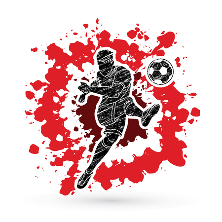 Soccer player shooting a ball action designed on splatter ink background graphic vector