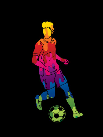 Soccer player running with soccer ball action designed using colorful graphic vector