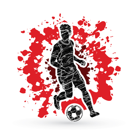 Soccer player running with soccer ball action designed on splatter ink graphic vector
