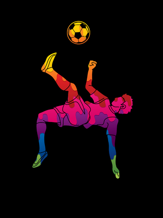 Soccer player somersault kick , overhead kick action designed using colorful graphic vector