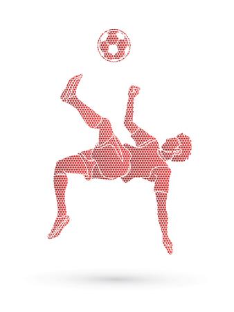 Soccer player somersault kick , overhead kick action designed using geometric pattern graphic vector Illustration