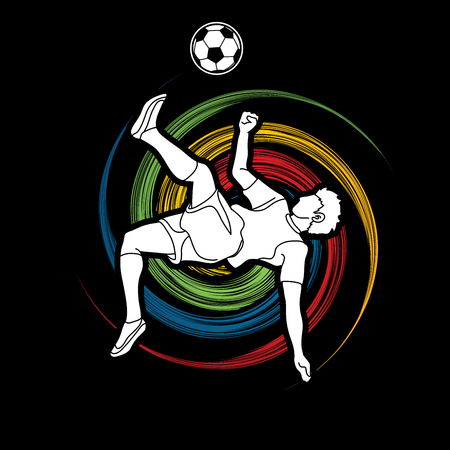 Soccer player somersault kick , overhead kick action designed on spin wheel graphic vector Illustration