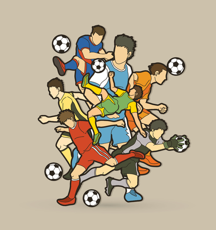 Soccer player team composition graphic vector.