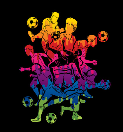 Soccer player team composition designed using colorful graphic vector. Illustration