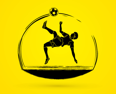 Soccer player somersault kick, overhead kick. Action graphic vector illustration.