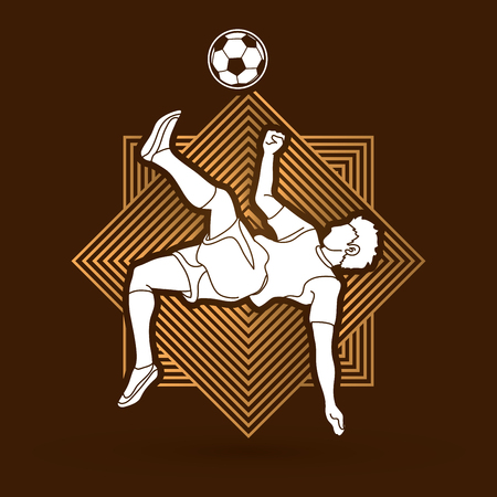 Soccer player somersault kick , overhead kick. Action designed on line square background graphic vector.