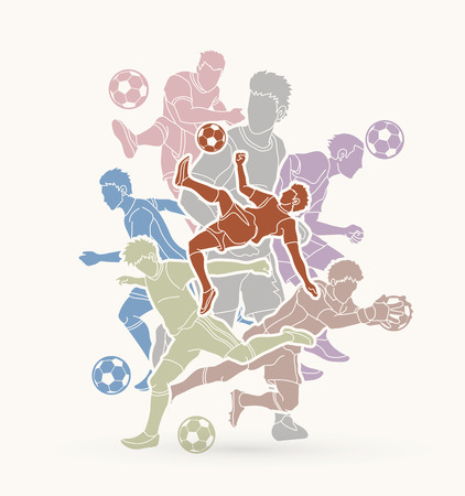 Soccer player team composition graphic vector illustration. Illustration