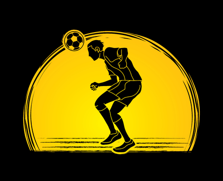 Soccer player bouncing a ball action  designed on sunset background graphic vector. Illustration