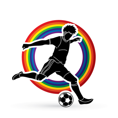 Soccer player running and kicking a ball action designed on line rainbows background graphic vector Çizim
