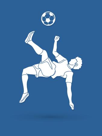 joueur de football joueur d & # 39 ; escalade , vecteur de kick eye animation graphique
