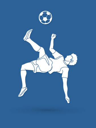 Soccer player somersault kick , overhead kick action graphic vector