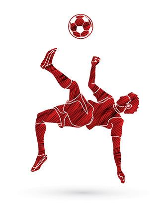 Soccer player somersault kick , overhead kick action designed using grunge brush graphic vector