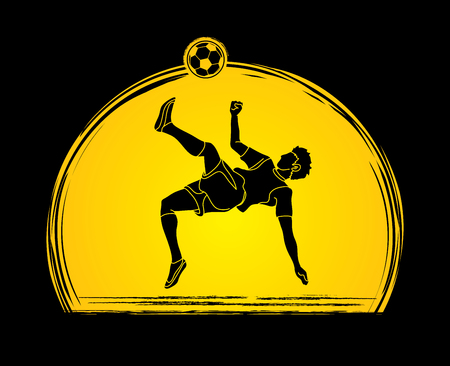 Soccer player somersault kick , overhead kick action designed on sunset background graphic vector