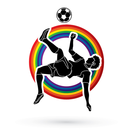 Soccer player somersault kick , overhead kick action designed on line rainbows background graphic vector
