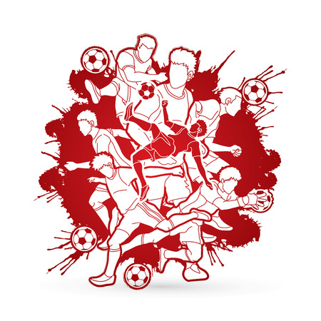 Soccer player team composition designed on splatter brush background graphic vector. Illustration
