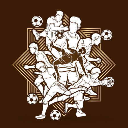 Soccer player team composition designed on line square background graphic vector. Illustration