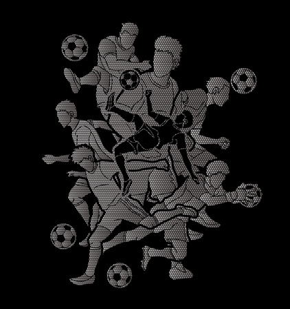 Soccer player team composition designed using geometric pattern graphic vector.