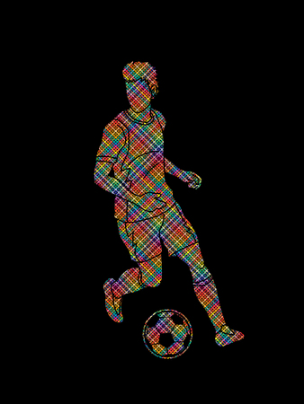 Soccer player running with soccer ball. Action designed using dots pixels graphic vector illustration.