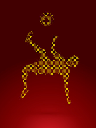 Soccer player somersault kick , overhead kick action designed using dots pattern graphic vector