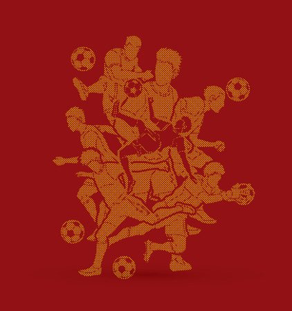Soccer player team composition designed using dots pixels graphic vector.