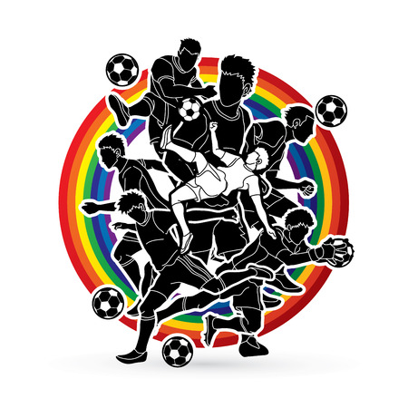 Soccer player team composition designed on line rainbows background  graphic vector. Illustration