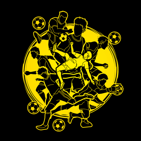 Soccer player team composition designed on moonlight background  graphic vector.