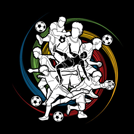 Soccer player team composition designed on spin wheel background  graphic vector.