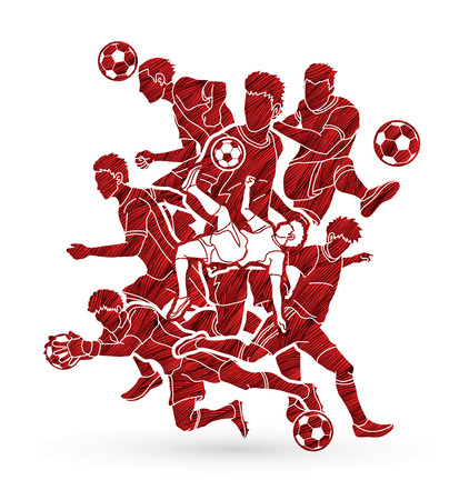 Soccer Team  player composition  designed using grunge brush graphic vector. Illustration