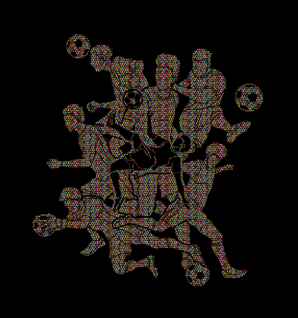 Soccer player team composition designed using mosaic pattern graphic vector. Illustration
