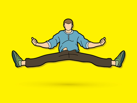 A man dancing, Action jumping graphic vector