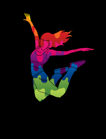 Street dance, B boys dance, Dancing action designed using colorful graffiti graphic vector