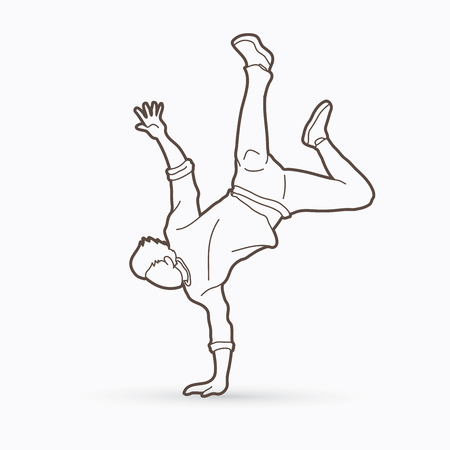 Street dance, B boys dance, Dancing action outline graphic vector