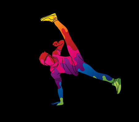 Dancing action designed using colorful graphic vector