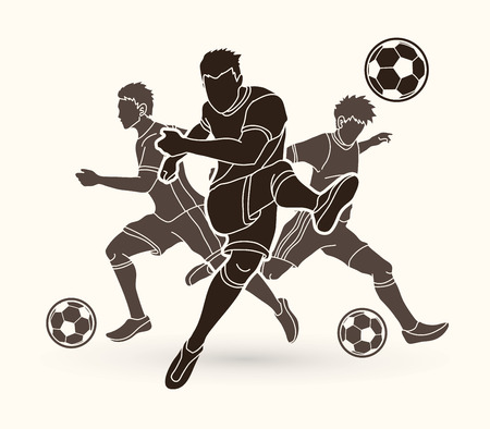 Three Soccer player team composition graphic vector. Çizim