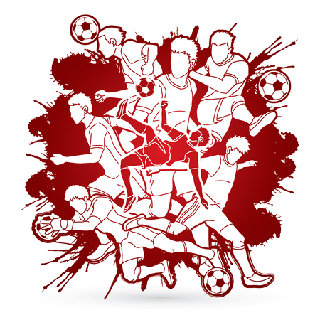 Soccer player team composition designed on splatter blood background graphic vector. Illustration