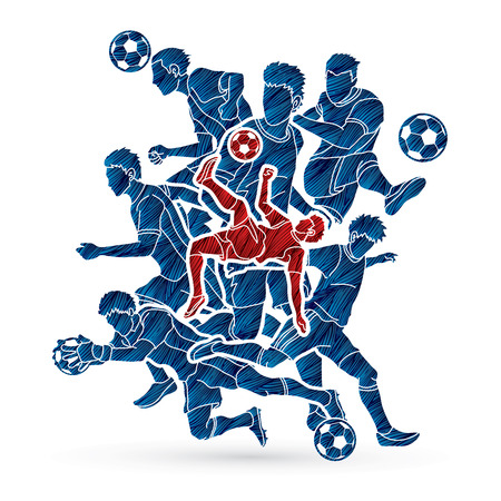 Soccer player team composition designed using grunge brush graphic vector illustration