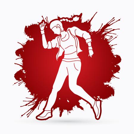 Street dance, B boys dance, hip hop dancing action designed on splatter ink background graphic vector.