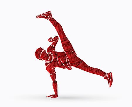 Street dance, B boys dance, hip hop dancing action designed using grunge brush graphic vector.