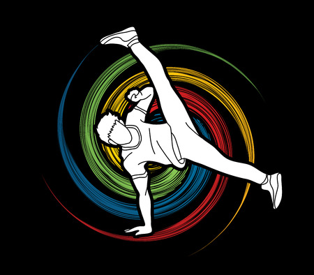 Street dance, B boys dance, hip hop dancing action designed on spin wheel background graphic vector.