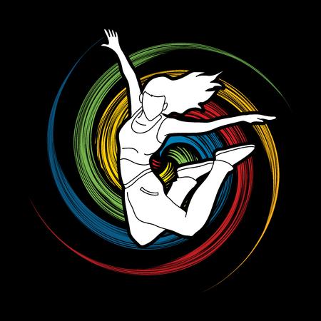 Street dance, B boys dance, Hip Hop Dancing action designed on spin wheel background graphic vector Illustration