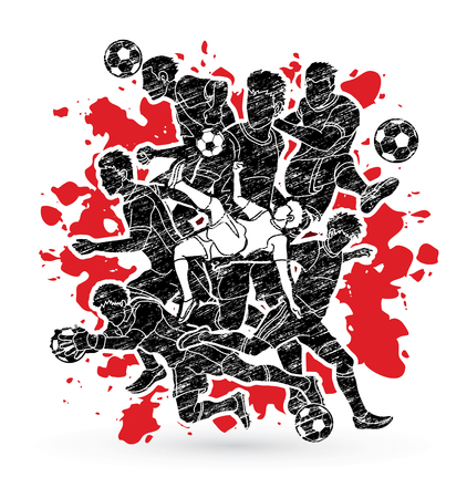 Soccer player team composition designed on splatter ink background graphic vector.