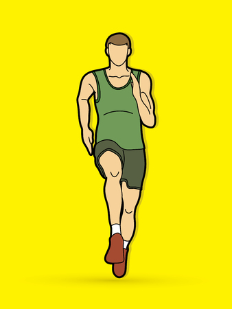 Athlete runner, A man  runner running front view graphic vector Illustration