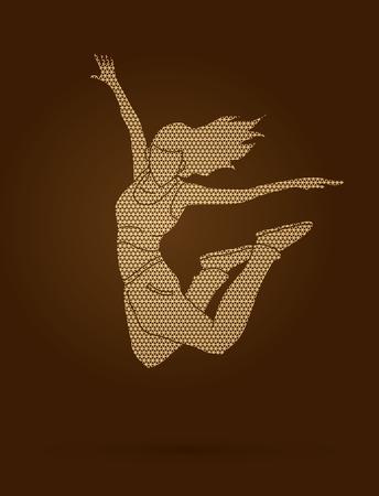 Street dance, B boys dance, Hip Hop Dancing action designed using geometric pattern graphic vector