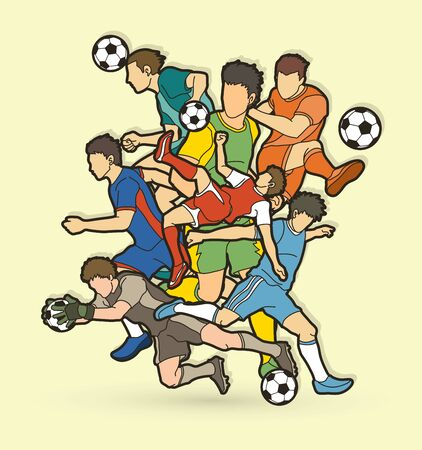 Soccer player team composition  graphic vector. Stock Illustratie