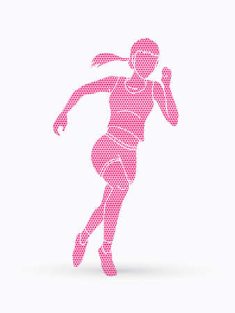 Sideview of woman running on pink geometrical filled illustration on white background.